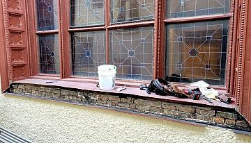 Metal around window during restoration.