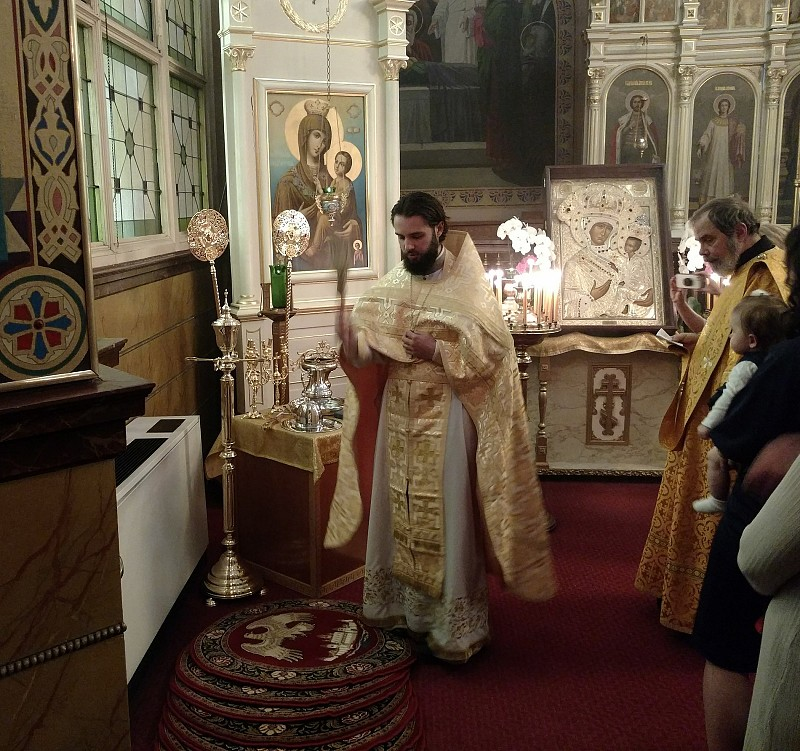Father Alexander blesses the new liturgical items, July 22, 2018.